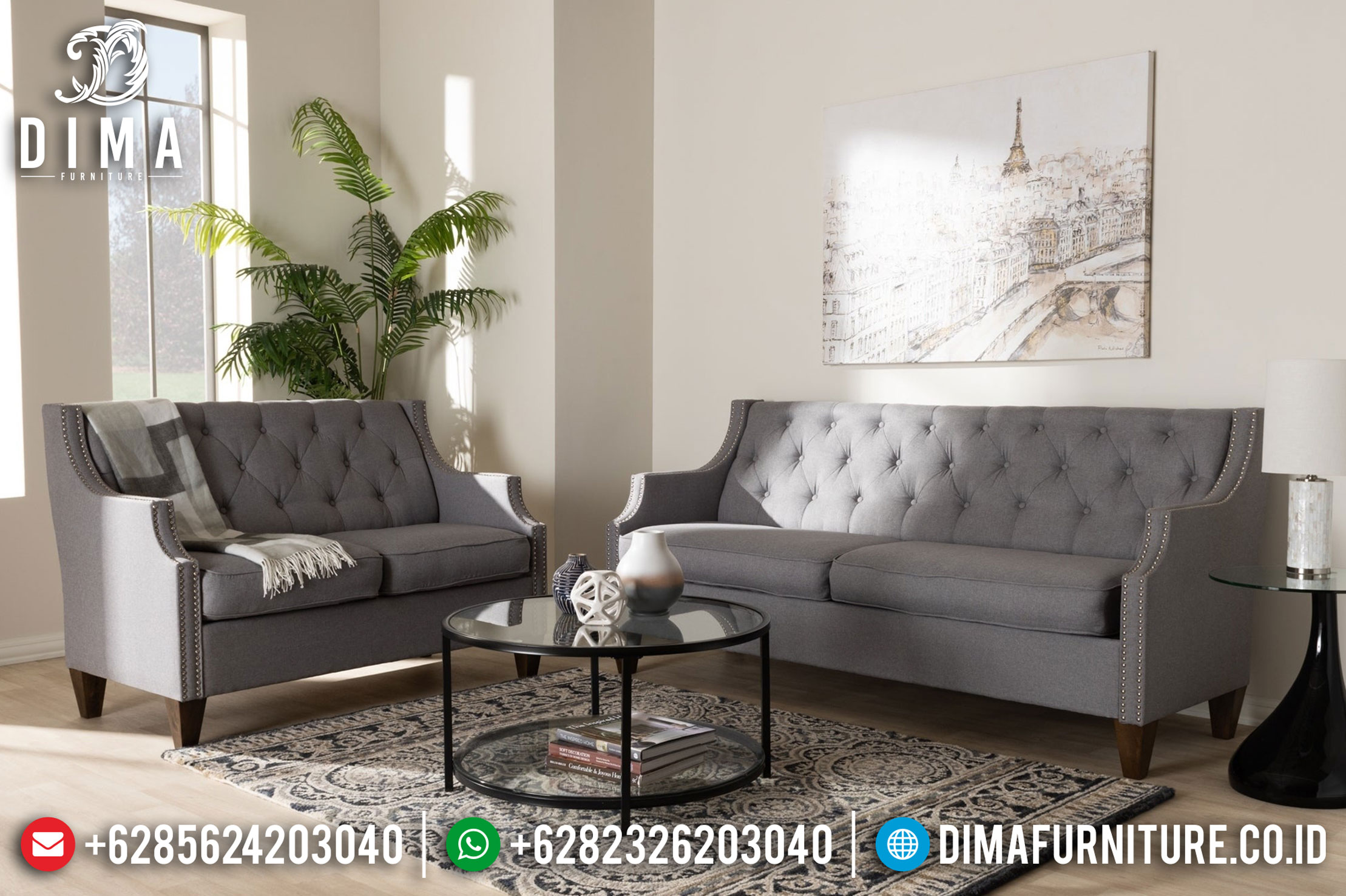 Jual 1 Set Sofa Tamu Minimalis Jepara Mewah Terbaruentury Fabric MMJ-0030