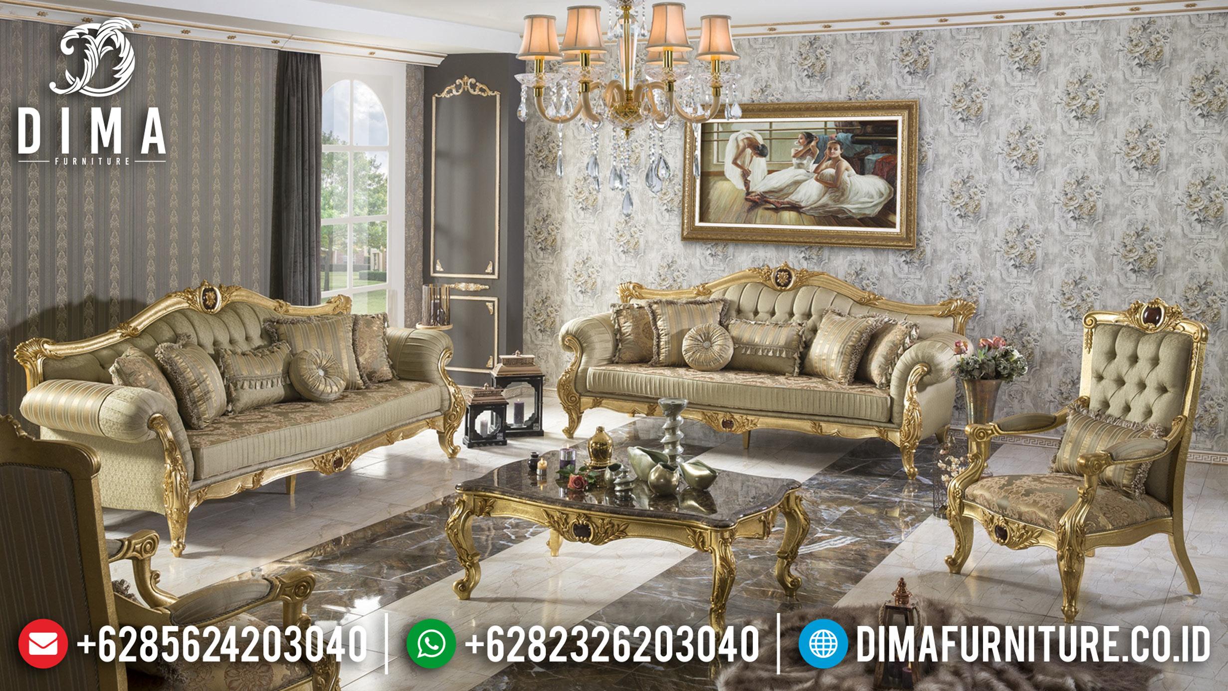 Set Sofa Tamu Jepara Mewah Finishing Gold Leaf Model Ukiran Terbaru MMJ-0041