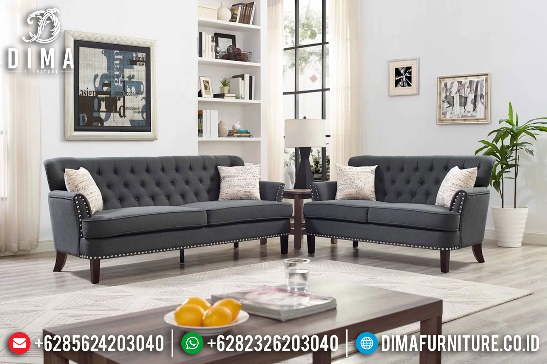 Terbaru Model Kursi Sofa Tamu Minimalis Jepara Fabric Skin MMJ-0032