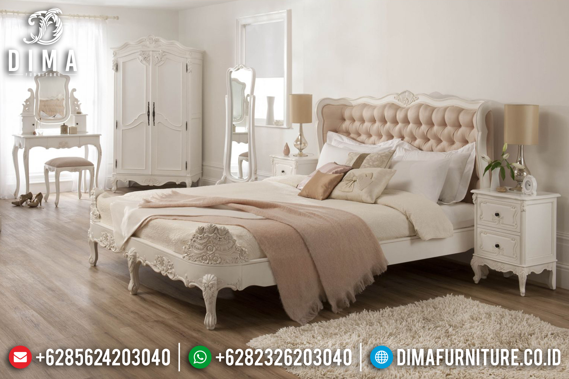 Set Kamar Ruang Istirahat Tempat Tidur Jepara Mewah Minimalis Duco Baroque MMJ-0052