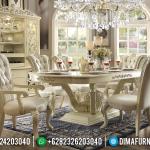 Luxury Set Meja Makan Jepara Mewah Duco Ivory MMJ-0149