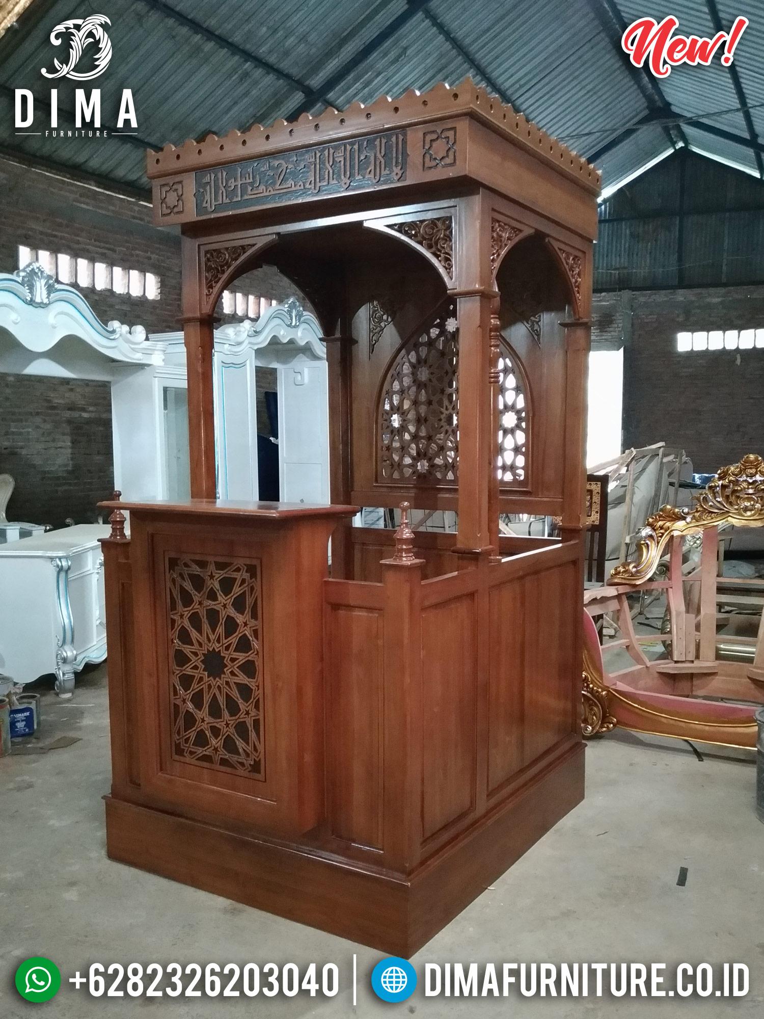 Mimbar Masjid Jepara Jati Minimalis Terbaru Natural MMJ-0203 Gambar 2
