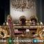 Gold Leaf Meja Makan Mewah Jepara King Royals MMJ-0242