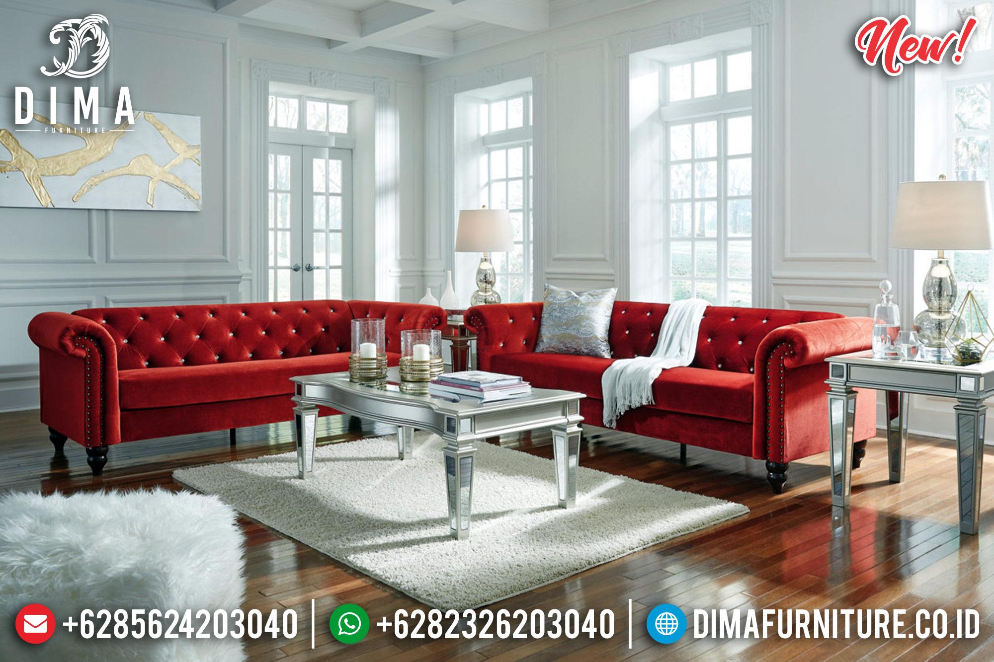 Jual Sofa Tamu Jepara Mewah Red Silver Terbaru MMJ-0236