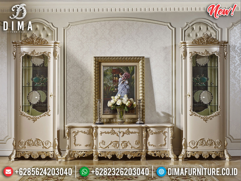 New Bufet TV Mewah Jepara Duco Ivory Golden Combine MMJ-0336