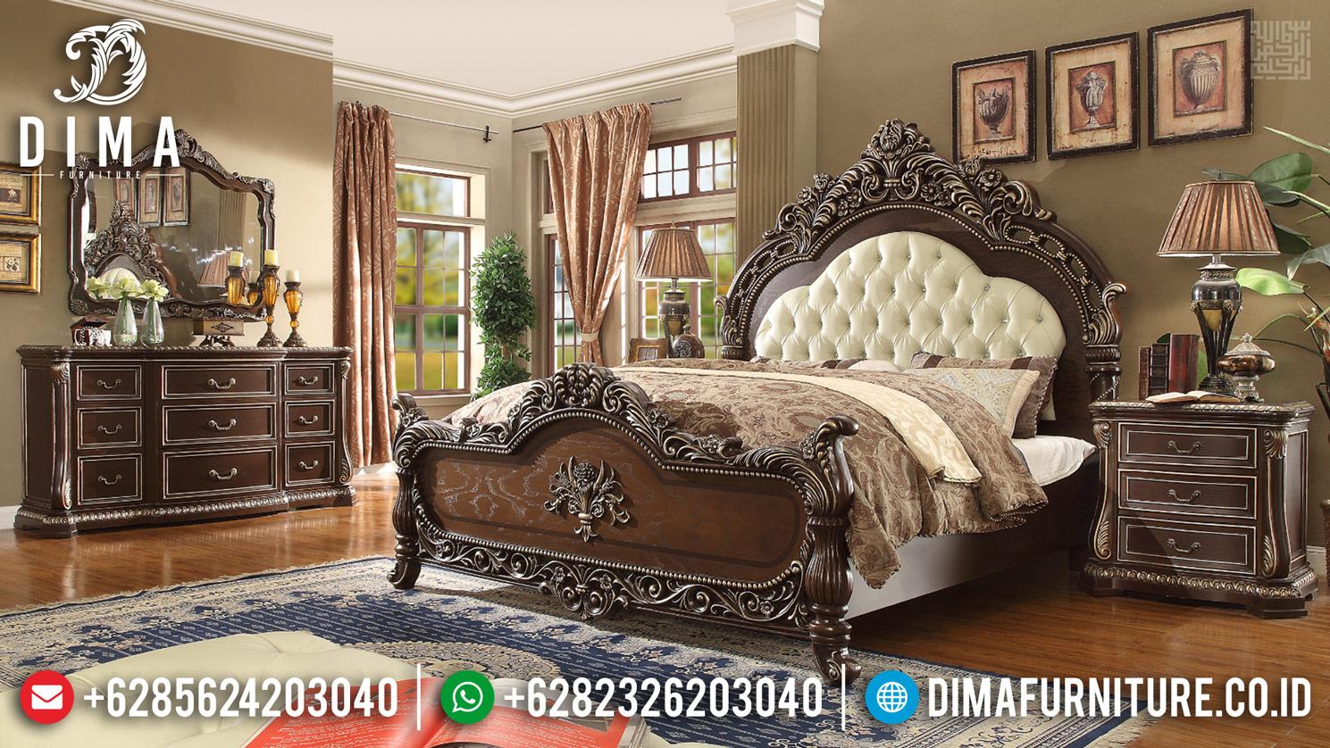 Beli Tempat Tidur Mewah Natural Jati Ukiran Klasik Jepara MMJ-0450