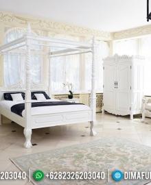Best Seller Tempat Tidur Kanopi Mewah White Duco Color Furniture Jepara MMJ-0464