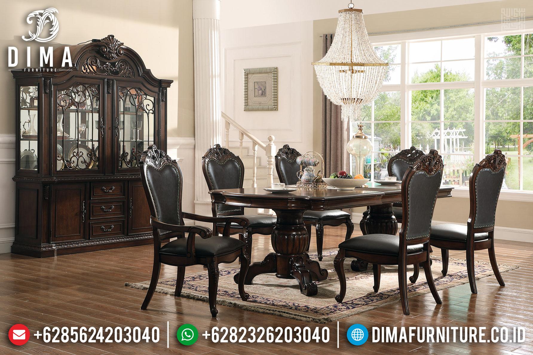 Furniture Jepara Minimalis Set Meja Makan Jati Kursi 6 Natural Salak Brown Glossy MMJ-0416