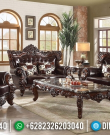 Furniture Jepara Sofa Tamu Mewah Barcelona Natural Dark Brown Jati TPK MMJ-0446