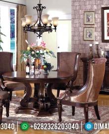 Furniture Jepara Terbaru Set Meja Makan Jati Bundar Natural Classic MMJ-0414