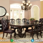 Harga Meja Makan Mewah Jati Natural Dark Brown Furniture Jepara Asli MMJ-0412