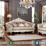 Kursi Sofa Tamu Mewah Luxury Carving White Duco Ivory MMJ-0477
