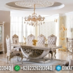 New Meja Makan Mewah Luxury White Duco Furniture Jepara Asli MMJ-0400