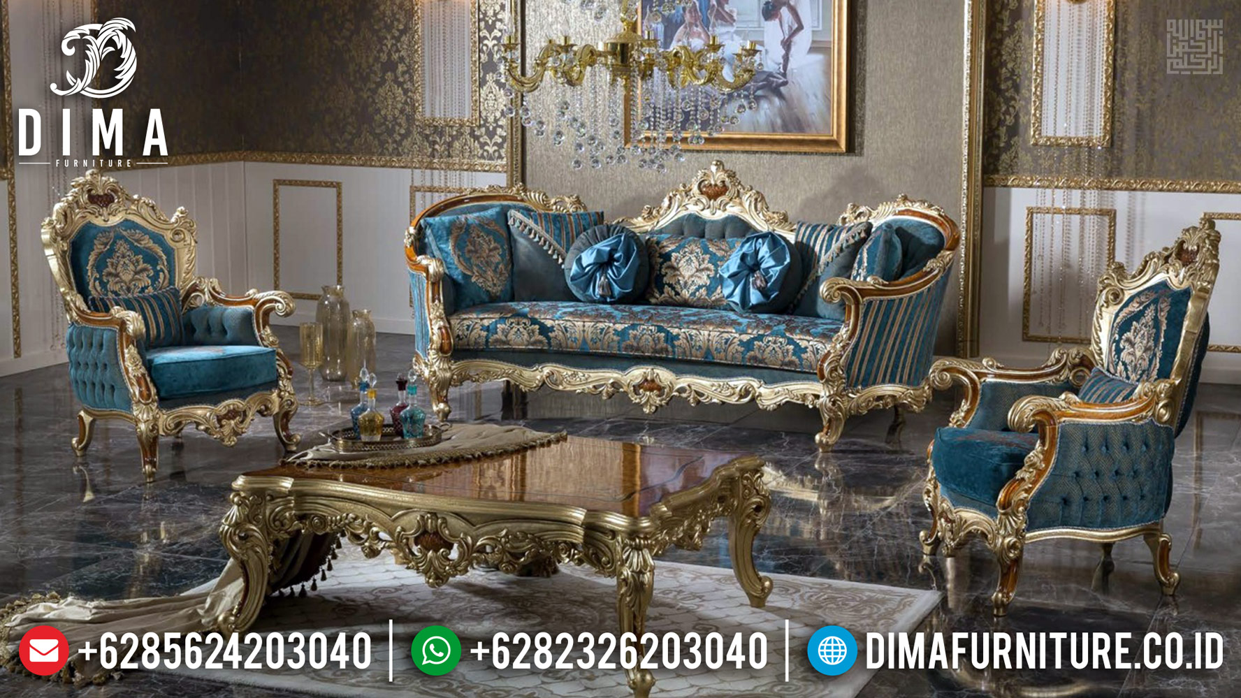 Sofa Tamu Mewah Amanda Golden Classic Combine Color Furniture Jepara MMJ-0441