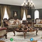 Sofa Tamu Mewah Jati Natural Classic Furniture Jepara Kekinian MMJ-0419