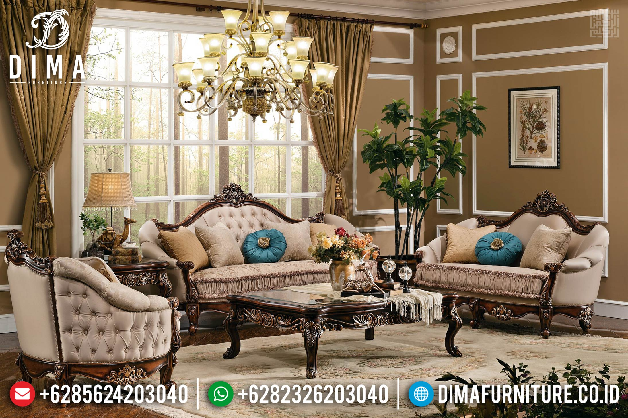 Sofa Tamu Mewah Jati Natural Mahkota Ukiran Classic Luxury MMJ-0421