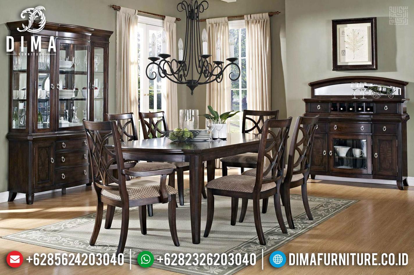 Desain Meja Makan Klasik Minimalis Luxury Carving Natural MMJ-0544