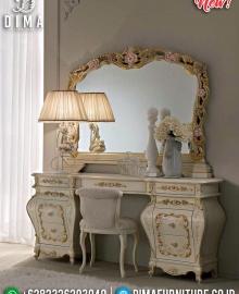 Desain Meja Rias Ukiran Jepara Luxury Classic Putih Duco Kombinasi MMJ-0589