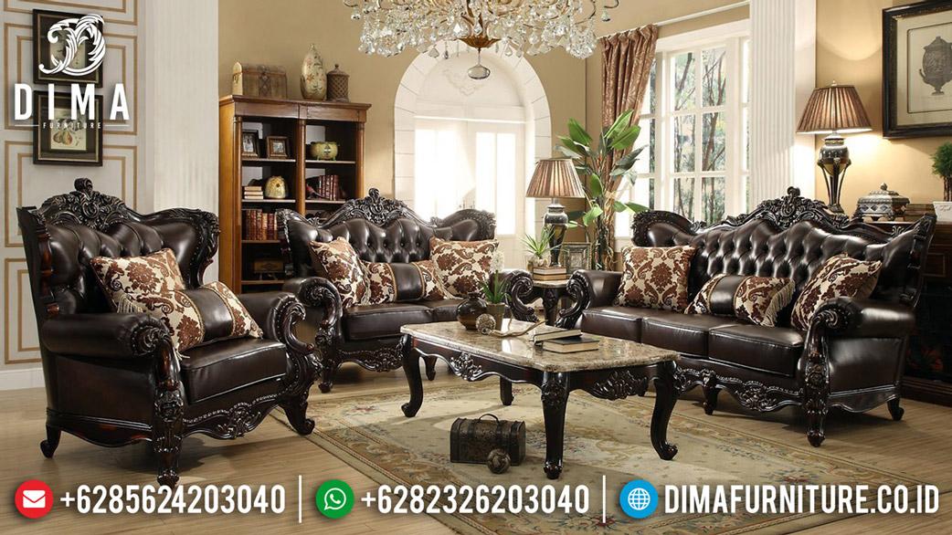 Furniture Jepara Set Sofa Tamu Jati Natural Classic Salak Brown MMJ-0582