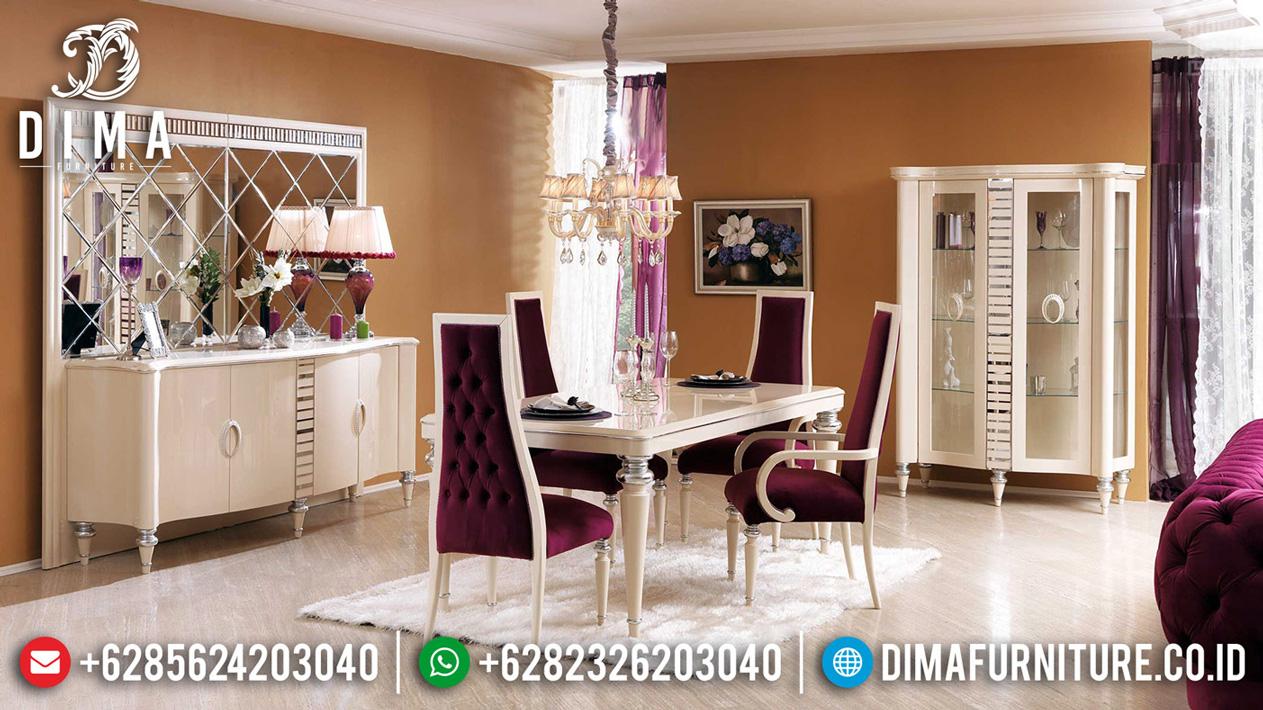 Get Sale Meja Makan Mewah Turkish White Duco Combine Color MMJ-0536