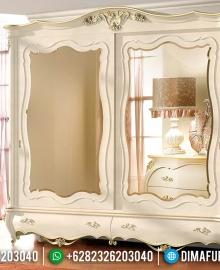 Jual Lemari Pakaian Sliding Mewah Full Kaca White Duco New Design Luxury MMJ-0529