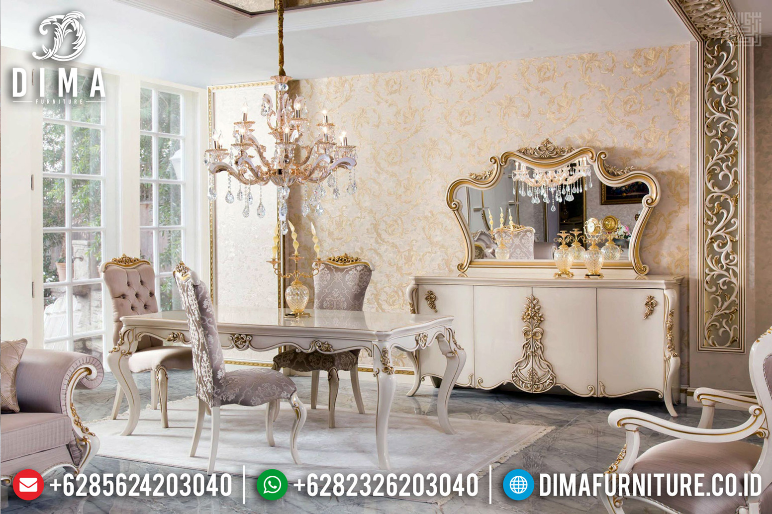 Jual Meja Makan Mewah, Kursi Meja Makan Ukiran Jepara, Dining Table Luxury Classic MMJ-0501