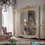 Lemari Pakaian 6 Pintu Kaca Mewah Luxury Carving Crown Ukir Jepara MMJ-0530