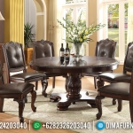 Meja Makan Mewah Bundar Natural Jati Oscar Leather Furniture Jepara Luxury MMJ-0495