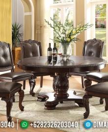 Meja Makan Mewah Bundar Natural Jati Oscar Leather Furniture Jepara Luxury MMJ-0495