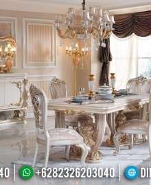 Meja Makan Mewah Jepara White Ivory Duco Luxury Classic Carving MMJ-0518