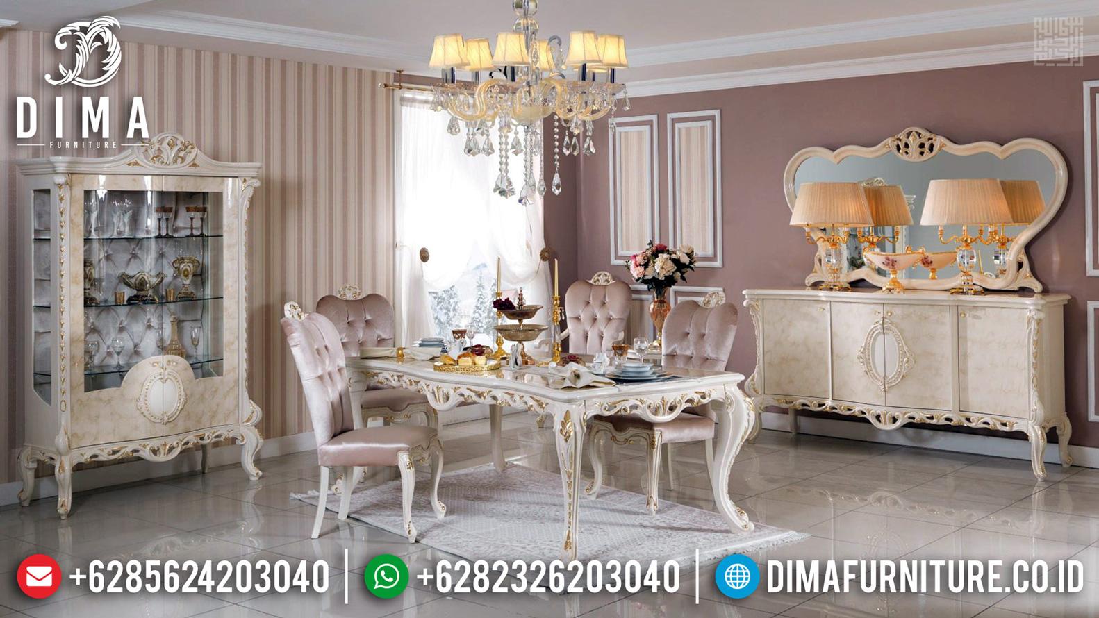 Meja Makan Mewah Queen Style Luxury Carving Furnishing Jepara MMJ-0531