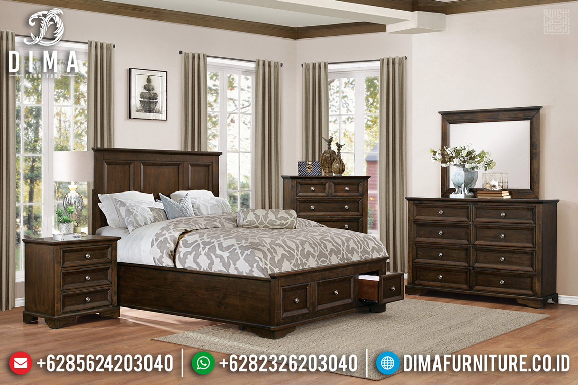 Model Tempat Tidur Laci Jati Klasik Minimalis Natural Salak MMJ-0562