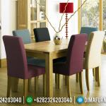 Set Kursi Makan Klasik Jati Minimalis Jepara Colorful Fabric MMJ-0546