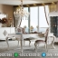Set Meja Makan Mewah White Duco Luxury Carving Jepara MMJ-0499