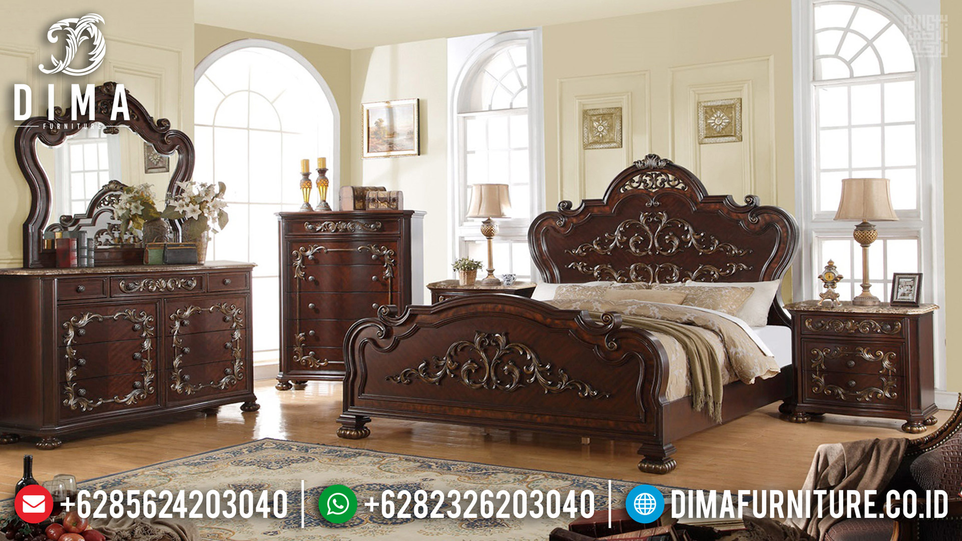 Jual Kamar Set Mewah Natural Jati Perhutani Best Quality Product MMJ-0662