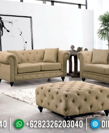 Jual Sofa Tamu Chesterfield Soft Brown Fabric Design Modern Minimalis MMJ-0629