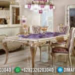Meja Makan Ukiran Jepara Desain Cantik Warna Golden Leaf Glossy Best Quality MMJ-0637