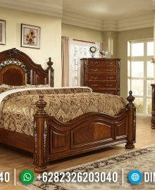 Set Kamar Jati Natural Satin Kayu Perhutani Furniture Jepara MMJ-0614