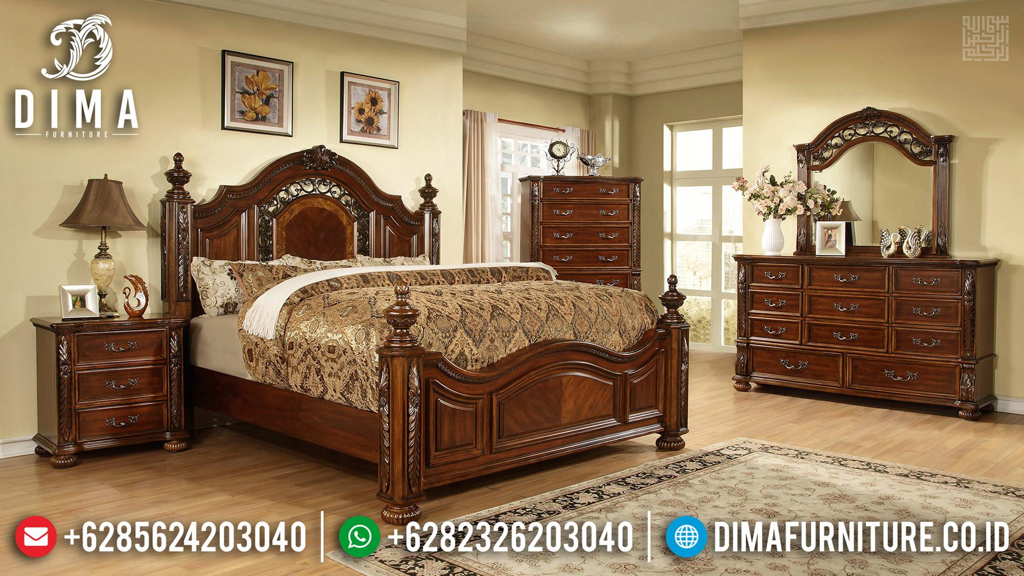 Set Kamar Jati Natural Satin Kayu Perhutani Furniture Jepara MMJ-0614