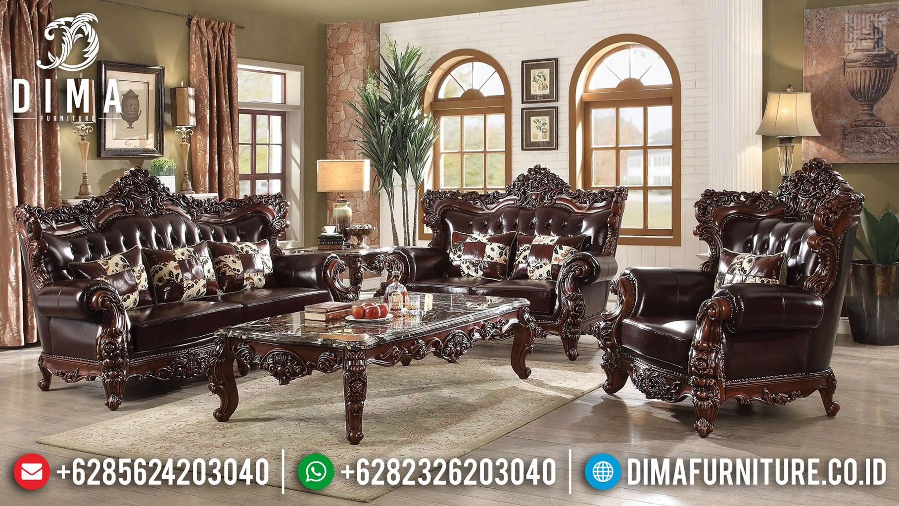 Set Sofa Tamu Jati Natural Desain Mewah Luxury Klasik Jepara MMJ-0644