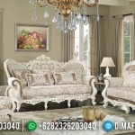 Sofa Tamu Mewah Ganesha Putih Duco Luxury Carving Antique MMJ-0642