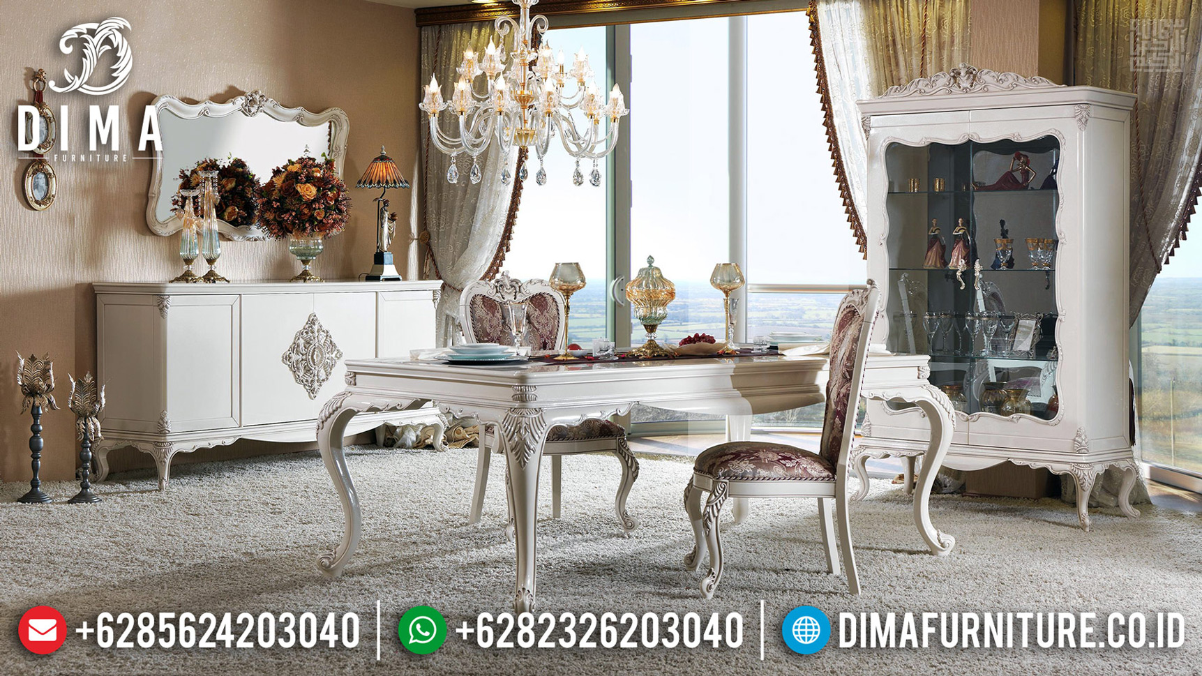 Furniture Jepara Meja Makan Mewah Classy Luxury New Design 2020 MMJ-0673