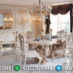 Special Ramadhan Set Meja Makan Mewah White Duco Luxury Carving Golden Combination MMJ-0666