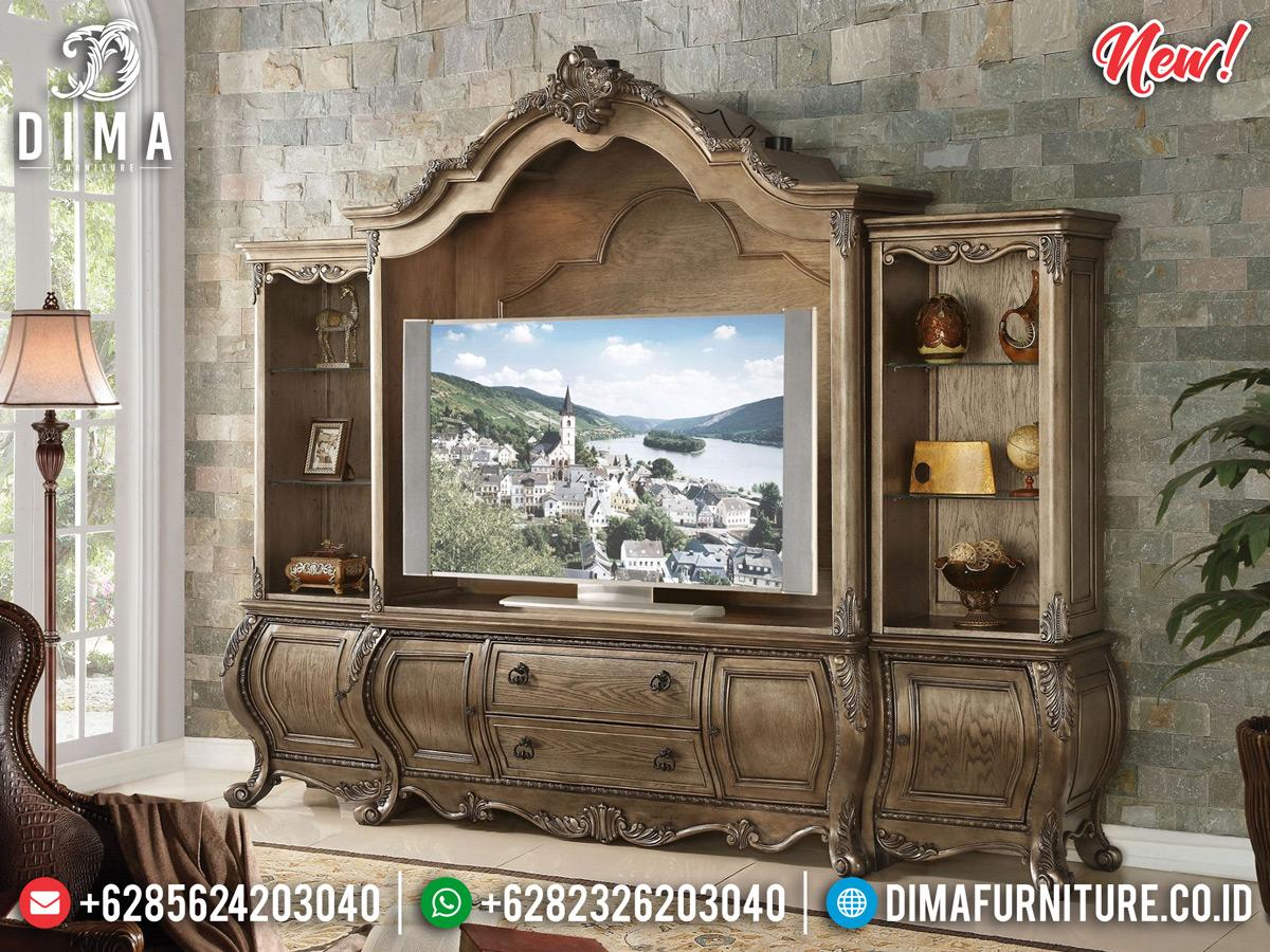 Classic Desain Bufet TV Mewah Ukiran Natural Color New 2020 MMJ-0801