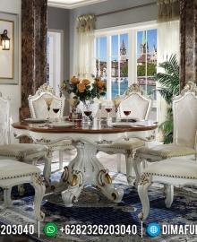 Desain Meja Makan Klasik Mewah Venezia Luxury Carving White Duco Ivory MMJ-0715