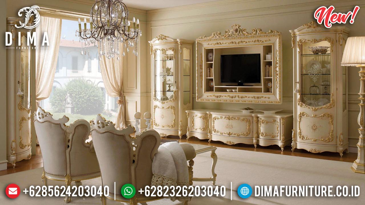 Italian Classic Bufet TV Mewah Ukiran Jepara New Luxury Klasik MMJ-0736