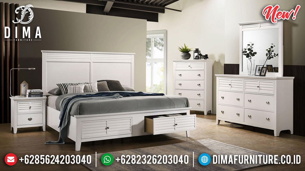 Jual Kamar Set Minimalis Modern Furniture Jepara New White Duco Glossy Best Price MMJ-0747