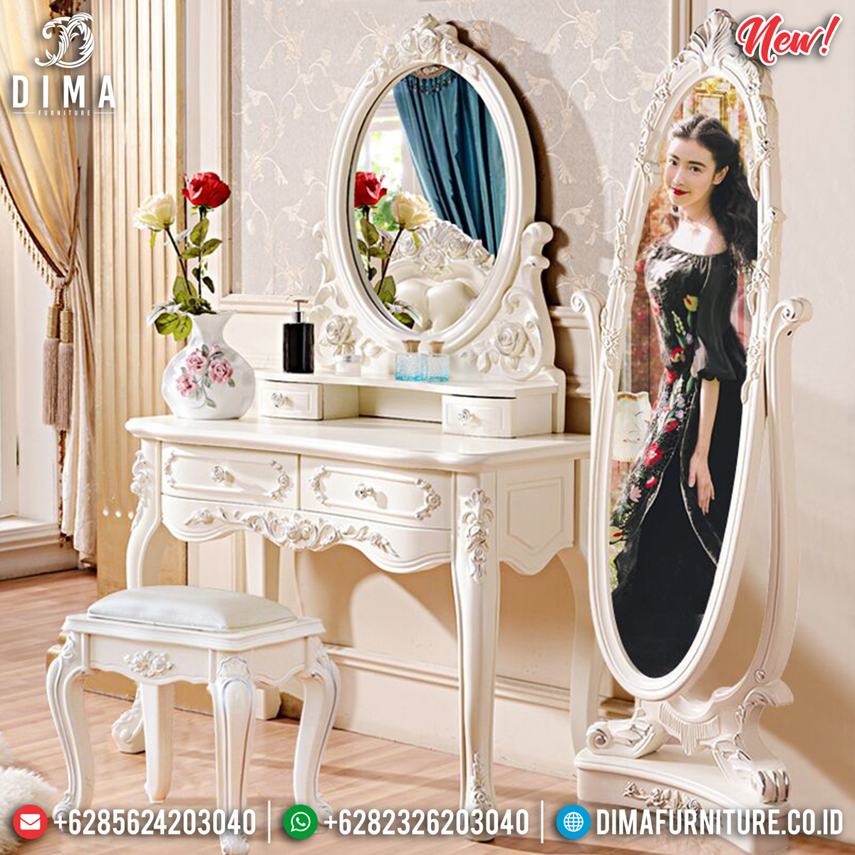 Jual Meja Rias Mewah Versailles Unique Design Luxury Carving MMJ-0780