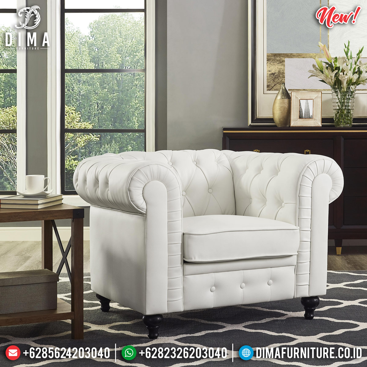 Jual Sofa Tamu Minimalis Chesterfield White Softly New Luxury Design MMJ-0815 Detail 2