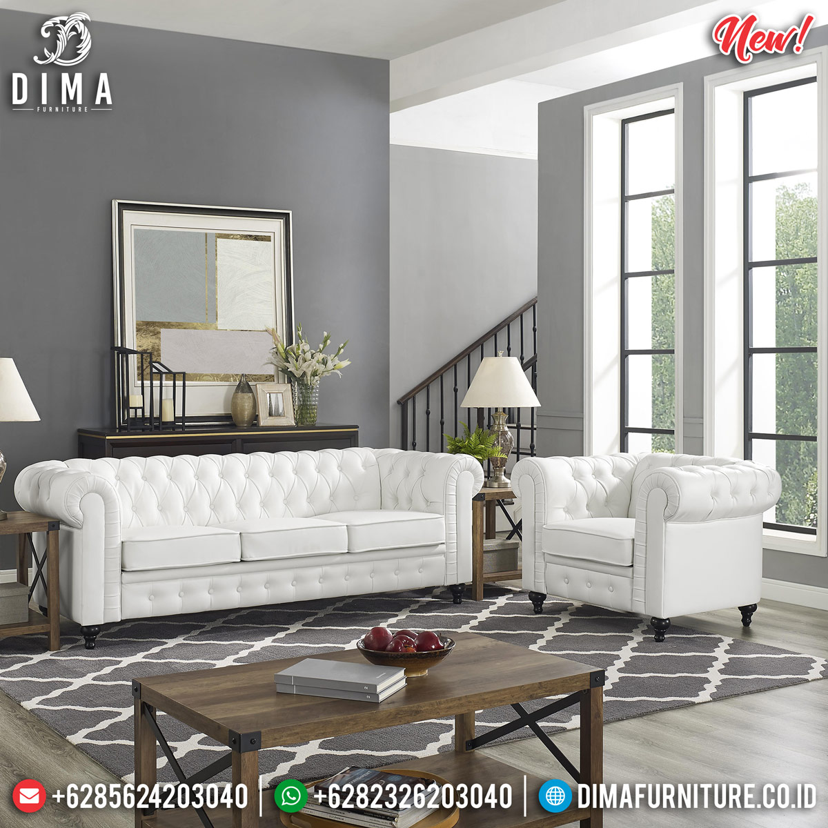 Jual Sofa Tamu Minimalis Chesterfield White Softly New Luxury Design MMJ-0815